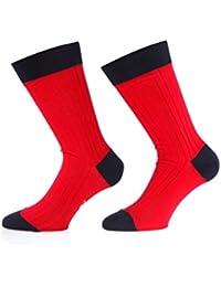 Bruce Field - Chaussettes homme fil d'Ecosse 100% coton rouge et marine - Modèle 3114