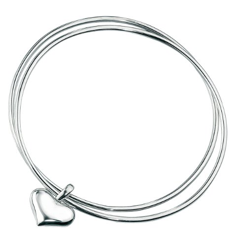 Elements Sterling Silver Ladies' B2213 Double Bangle with Heart Charm