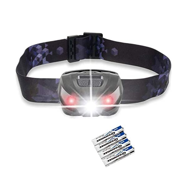 LED Head Torch, Super Bright CREE LED Headlamp, 5 Modes, White & Red LED, 150LM, Water Resistant, Great for Running, Camping, Hiking & Fishing, AAA Battery Included 1
