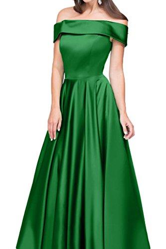 Ivydressing Damen Modern U-Ausschnitt Satin A-Linie Lang Partykleid Promkleid Festkleid Abendkleid Grün