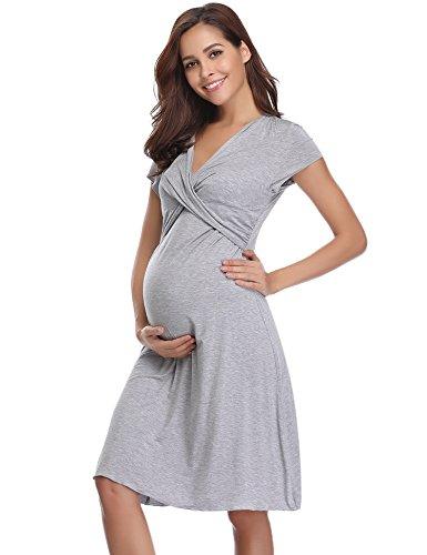 165dd5e47 Hawiton Camisón Lactancia Pijama Embarazada Algodón Ropa para Dormir ...