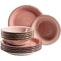 MÄSER 931495 Bel Tempo II - Juego de platos para 6 personas (pintados a mano, gres), diseño vintage, color rosa