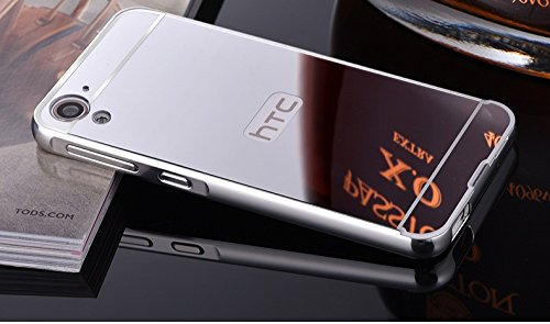 AE (TM) Luxury Metal Bumper + Acrylic Mirror Back Cover Case For HTC DESIRE 626 / 626G SILVER PLATED