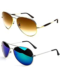 541c71681ab Younky UV Protected Aviator Mercury Unisex Sunglasses (Brown Blue) - Pack  of 2