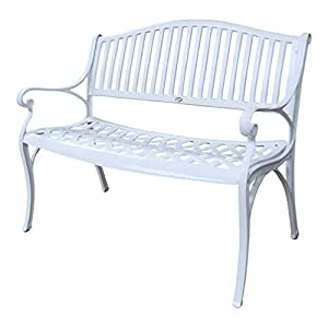 Banc de jardin Grace en aluminium - design 'Fer Forgé' - blanc