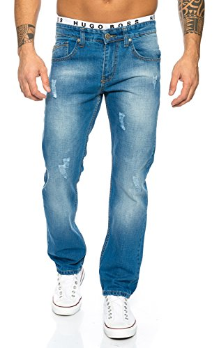 Rock Creek Herren Jeanshose Blau Denim Herren Jeans Used-Look Straight-Cut LL-394 W29-W44