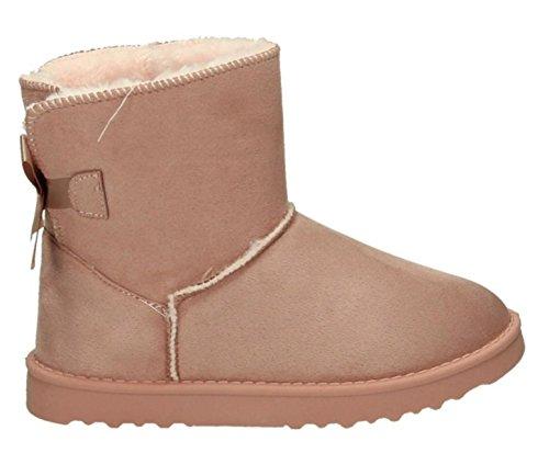 King Of Shoes Damen Stiefeletten Schnee Stiefel Boots Flache Schlupfstiefel Warm Gefüttert Winter Schuhe 783 (37, Pink 17)
