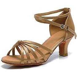 VASHCAME-Zapatos de Baile Latino de Tacón Alto/Medio para Mujer Lazo Beige 38 (Tacón-5cm)