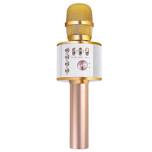 Microphone Karaoké, Ankuka Micro Sans Fil Bluetooth 4.1 Compatible avec Smartphone Android/IOS/PC pour Soirée Fête Cadeau Enfants (Or)