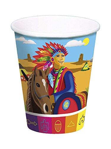 Folat Indianer Pappbecher Wilder Westen Kinderparty 8 Stück bunt 250ml (1. Geburtstag Cowboy-thema)
