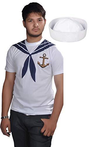 Labreeze Erwachsenen-T-Shirt mit weißem Doughboy-Hut, Marineblau, Seefahrer-Party-Kostüm