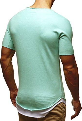 a7f7686ac8624a ... LEIF NELSON Herren T-Shirt Top Tiefer Rundhals Ausschnitt Kurzarm-shirt  Basic Crew Neck