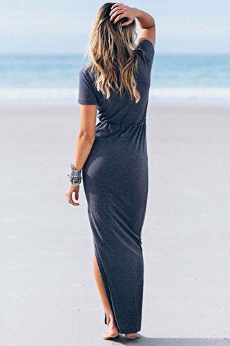 Qissy® Femme Sexy Casual V Neck Side de Split Drawstring manche courte Maxi Robe Longue Dress Parti D'été Bleu