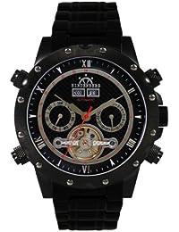 Hindenberg 140_H-schwarz-U - Reloj para hombres, correa de acero inoxidable color negro