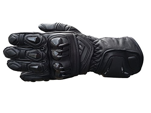 Schwarz Vector Race Kevlar Leder belüftet Motorrad Handschuhe RP £62 (Gold Glove-serie)