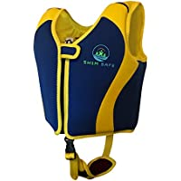 SW1M SAFE Swim Vest - Boys And Girls Fixed Float Bouyancy Neoprene Jacket With Unique Safety Strap - Toddlers Childs Kids Childrens Swimming Training Aid