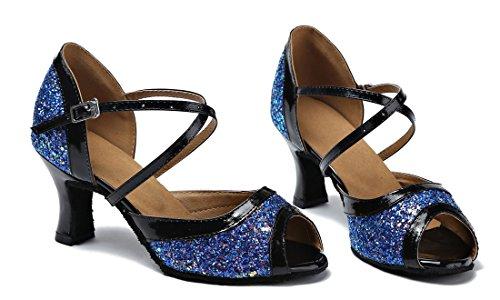 TDA ,  Damen Peep Toes 7cm Blue
