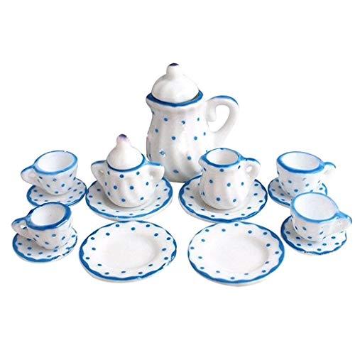 Tvvudwxx 15 Stücke Elegant Puppenhaus Mini Porzellan Teaware 1:12 Puppenhaus Zubehör Miniatur Porzellan Tupfen-Teeservice-Geschirr Puppenstube Dekoration Zubehör Spielzeug