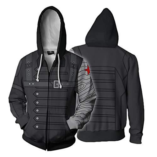 Kostüm Winter Soldier Cosplay Der - Alaeo 3D gedruckte Winter Soldier Cosplay Hoody Hoodie für Unisex Erwachsene Langarm mit Reißverschluss Kordelzug Sweatshirt Halloween Kostüm Parteien,Grau,XL