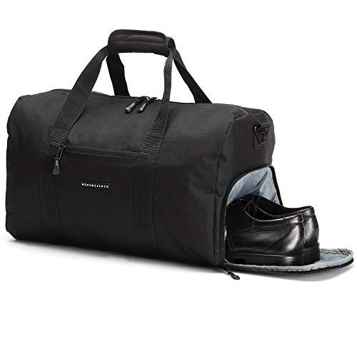 ronin\'s Stilvolle Sporttasche Reisetasche mit Schuhfach und Trinkflaschen-Halter | Update Version 2019 | Nachtschwarz