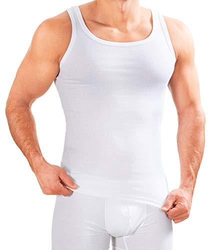 MERISH Herren Unterhemd 5er Pack Tank Top Feinripp Baumwolle Weiß T-Shirt 400 (L, 400 5er Pack Weiß)