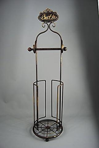 Vintage style Dark Brown Metal and Gold freestanding Toilet roll Holder