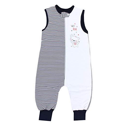 TupTam Baby Unisex Winter Schlafsack mit Beinen, Farbe: Streifenmuster Dunkelblau, Größe: 80-86