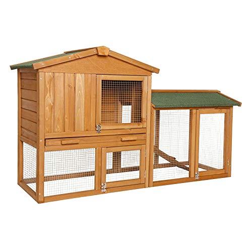 Dibea rh10240premium piccolo animale stalla (147x 52x 85cm), rifugio di 2piani in legno, recinto spazioso con 3porte per conigli, conigli, porcellini d' india