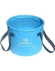 Balde Compacto Plegable Premium por Freegrace – Contenedor de Agua Plegable Portátil – Liviano y Duradero – Disponible en Varios Colores y Tamaños (Azul Cielo, 10L)