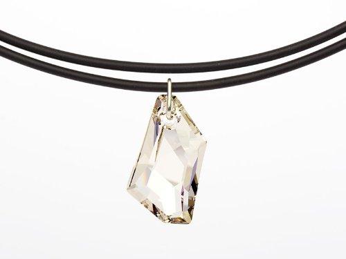 Halskette Universal mit einem original Swarovski Elements 'De-Art' Anhänger (Crystal Silver Shade), Lederband schwarz (PR55) -