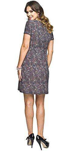 Umstandsmode von Torelle - 2in1 elegantes und bequemes Umstandskleid / Stillkleid, Modell: MARIE Kurzarm/Muster Violet