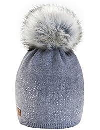 4sold Yes Lady Skullies Bonnets Bonnet fourré hiver pour femme bonnet tricoté avec torsades et gros pompon en fourrure plusieurs coloris taille unique