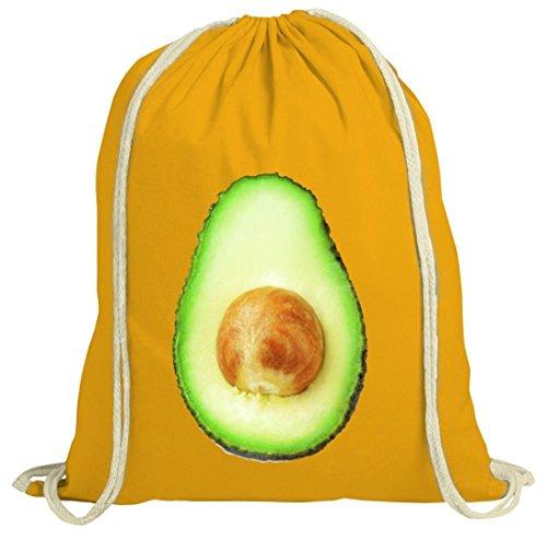 Avocado Turnbeutel für Freunde der bewussten Ernährung Fasching Karneval gelb natur
