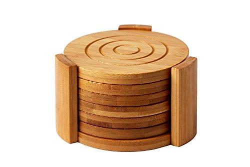 Heavy Duty Bambus Untersetzer Set-Absorbiert Verschütteten Flüssigkeiten und Kondensation-Modernes Design-inkl. 7Untersetzer und Halter Custom-Tan-10,9x 10,9x 6,9cm Bambus Coaster Set