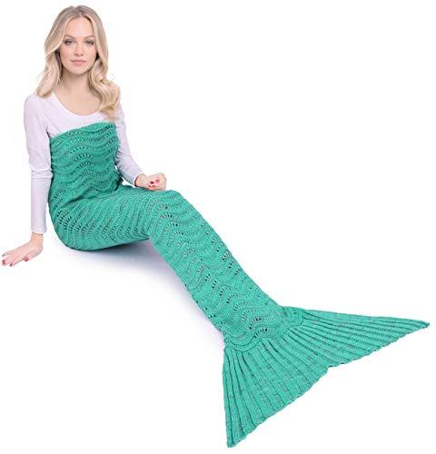 Netchain mermaid tail coperta per bambino adulti ragazza a crochet saluto regalo delle donne della moglie san valentino verde