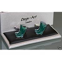Novelty Cufflinks - Wellies Green Wellington Boots Design