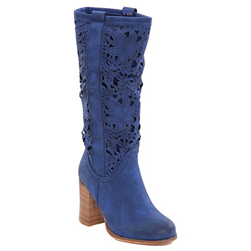 Toocool - Stivali donna scarpe texani traforati estivi tacchi Queen Helena nuovi QH16039 Blu
