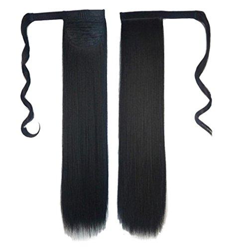 CLOOM Gerade lange Perücken Echte neue Clip in Haarverlängerung gerade Pferdeschwanz wickeln um Pferdeschwanz Bandage Pferdeschwanz Perücke Pferdeschwanz Perücke hohen Qualität geraden Haares (A)
