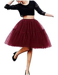 Imixcity Women's 50s Retro Rockabilly Tutu Tulle Skirts 6 Layers Midi Petticoat Classic Lolita