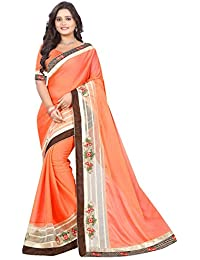 ARSH IMPEX Chiffon Orange Color Embroidered Lace Border Women Saree With Designer Blouse Piece