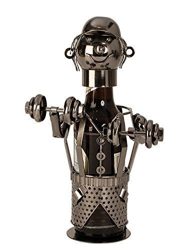 Extravaganter Bier Flaschenhalter Bodybuilder aus Metall Höhe 26 cm - 26 Hohe Metall