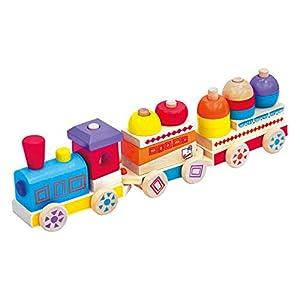 Bino Europe- Tren de Juguete de Madera de Colores, Maxi, carbón (82144)