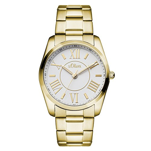s.Oliver Damen-Armbanduhr Analog Quarz IP Gold SO-15114-MQR