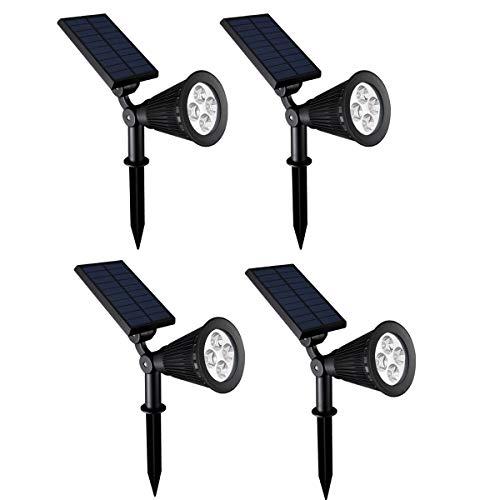 Chao Zan Lampe solaire de jardin à LED 2 modes d'éclairage étanche, 90 degrés, éclairage de sécurité, cour, garage, mur, pathway et Patio 4 Stück