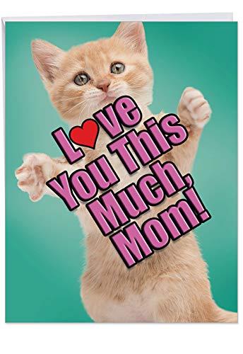 rtstag Mutter Grußkarte: Katze Love You This Much mit A Sweet Cat Haltearmen breit zu zeigen, wie viel ES loves you, mit Umschlag (für große: 21,6x 27,9cm) ()