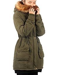 iLoveSIA Damen Wintermantel Jacke mit Pelzkapuze Mitte-Lange