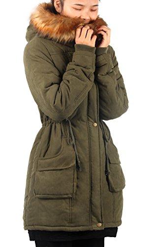 iLoveSIA Parka Damen Mit Fell Mantel Spitze Lange Militar Jacke Slim Trenchcoat Armee Grün,Etikett US10, 42 Armee-trenchcoat