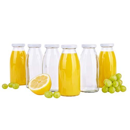MamboCat 6er Set Saftflaschen 250 ml + Twist-Off Deckel TO43 weiß I bauchige Glasform I Glasflasche zum Befüllen I Karaffe I Milchflasche I Deko-Vase I Trinkflasche I Schüttdosen - Deckel Flasche Mit Twist Milch