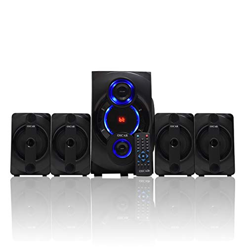 "OSCAR 4152BT 4.1 Channel 5.25"" SW, Digital Bluetooth Home Theater Speaker System, Compatible with PC, TV, Card Reader (Black)"