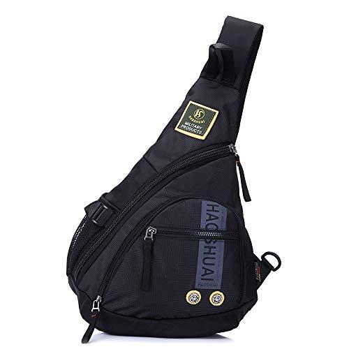 YNN Brusttasche Männer und Frauen große Größe Umhängetasche koreanische Version der großen Kapazität Hip-Hop-Mode Persönlichkeit Outdoor-Licht (Farbe : Black) -
